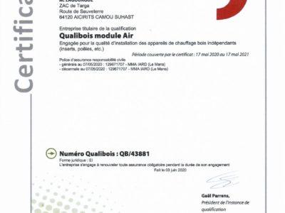 Attestation RGE Qualibois 2020 -2021